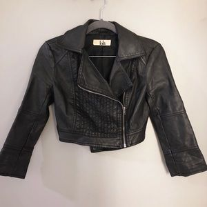 Leather Biker Jacket Crop